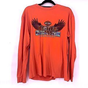 Harley Davidson orange long sleeve men's shirt L
